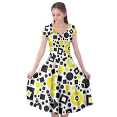 Black Versus Yellow Cap Sleeve Wrap Front Dress by TimelessFashion