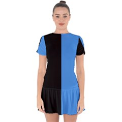 Black Blue Drop Hem Mini Chiffon Dress by TimelessFashion