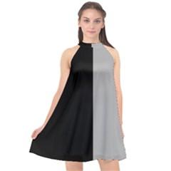 Black Grey Halter Neckline Chiffon Dress  by TimelessFashion