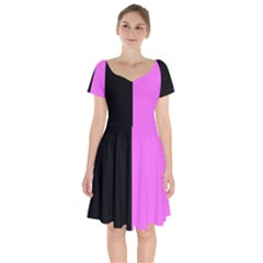 Black Pink Short Sleeve Bardot Dress by TimelessFashion