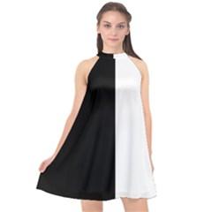 Black White Halter Neckline Chiffon Dress  by TimelessFashion