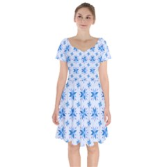 Blue Floral Short Sleeve Bardot Dress by TimelessFashion