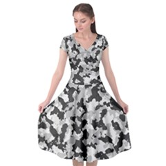 Camouflage In Black And White Cap Sleeve Wrap Front Dress by TimelessFashion
