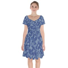 Camouflage In Blue Short Sleeve Bardot Dress by TimelessFashion