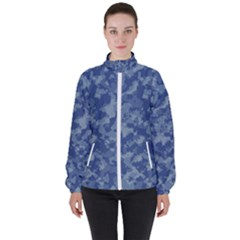 Camouflage In Blue High Neck Windbreaker (women) by TimelessFashion