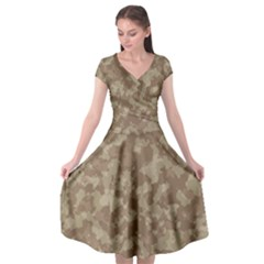 Camouflage In Brown Cap Sleeve Wrap Front Dress by TimelessFashion