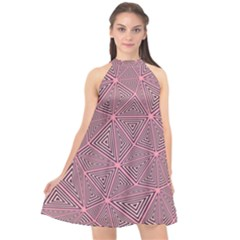 Chaos Of Triangles In Pink Halter Neckline Chiffon Dress  by TimelessFashion