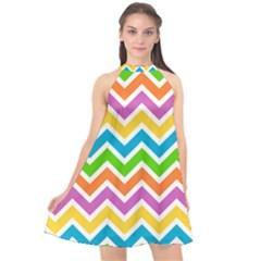 Chevron Of The Rainbow Halter Neckline Chiffon Dress