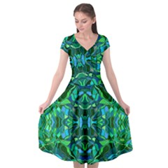 Abstract #8   I   Blues & Greens 6000 Cap Sleeve Wrap Front Dress by KesaliSkyeArt