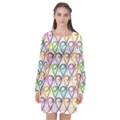 Colorfull Hearts Long Sleeve Chiffon Shift Dress  by TimelessFashion