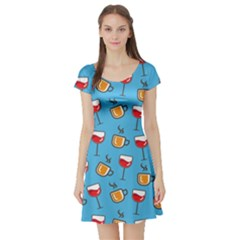 Cups And Glasses Blue Short Sleeve Skater Dress