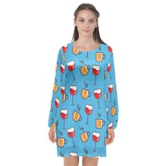 Cups And Glasses Blue Long Sleeve Chiffon Shift Dress  by TimelessFashion