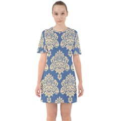 Damask Yellow On Blue Sixties Short Sleeve Mini Dress by TimelessFashion
