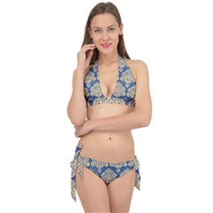 Damask Yellow On Blue Tie It Up Bikini Set