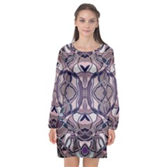Abstract #8   Iii   Aquatic 6000 Long Sleeve Chiffon Shift Dress  by KesaliSkyeArt