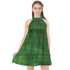 Fabric In Green Halter Neckline Chiffon Dress  by TimelessFashion