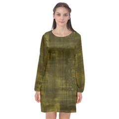 Fabric In Yellow Long Sleeve Chiffon Shift Dress  by TimelessFashion