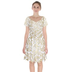 Floral Design In Gold  Short Sleeve Bardot Dress by TimelessFashion