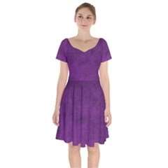 Fluffy Purple Short Sleeve Bardot Dress by TimelessFashion