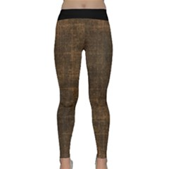 Leather Brown Classic Yoga Leggings by TimelessFashion
