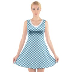 Polka Dot Blue  V Neck Sleeveless Dress by TimelessFashion