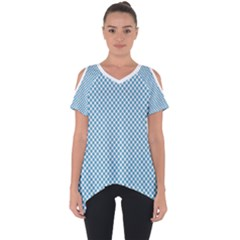 Polka Dot Blue  Cut Out Side Drop Tee by TimelessFashion