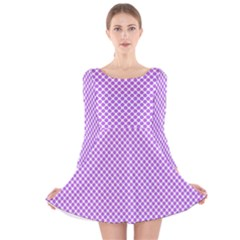 Polka Dot Purple Long Sleeve Velvet Skater Dress by TimelessFashion