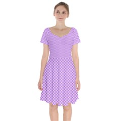 Polka Dot Purple Short Sleeve Bardot Dress by TimelessFashion