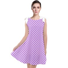 Polka Dot Purple Tie Up Tunic Dress by TimelessFashion