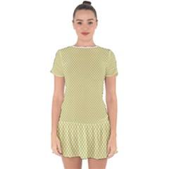 Polka Dot Yellow  Drop Hem Mini Chiffon Dress by TimelessFashion