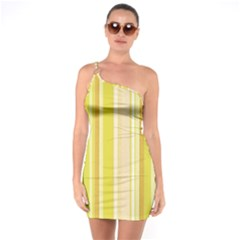 Stripes In Yellow One Soulder Bodycon Dress by TimelessFashion