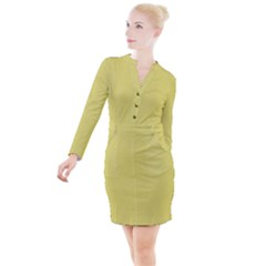 Yellow Fever Button Long Sleeve Dress