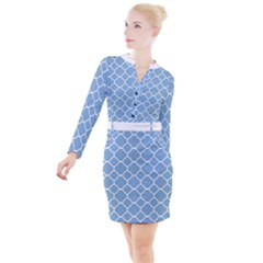 Vintage Tile Blue  Button Long Sleeve Dress by TimelessFashion