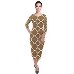 Vintage Tile Brown  Quarter Sleeve Midi Velour Bodycon Dress by TimelessFashion