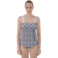 Vintage Tile Grey  Twist Front Tankini Set by TimelessFashion