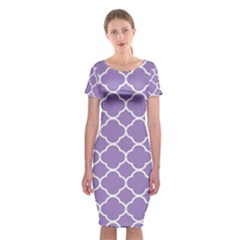 Vintage Tile Purple  Classic Short Sleeve Midi Dress