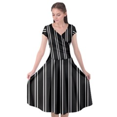 Nice Stripes Black Cap Sleeve Wrap Front Dress