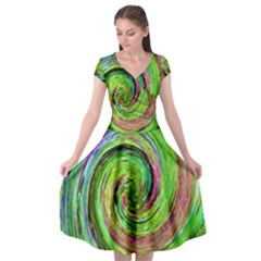 Groovy Abstract Green And Crimson Liquid Swirl Cap Sleeve Wrap Front Dress by myrubiogarden