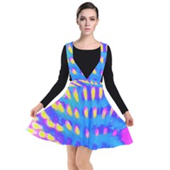 Pink, Blue And Yellow Abstract Coneflower Plunge Pinafore Dress by myrubiogarden