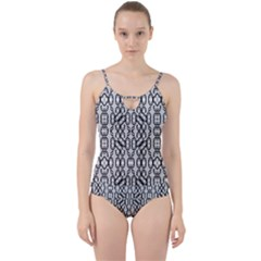 Black And White Intricate Modern Geometric Pattern Cut Out Top Tankini Set by dflcprintsclothing