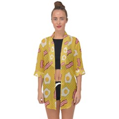 Bacon And Egg Pop Art Pattern Open Front Chiffon Kimono by Valentinaart
