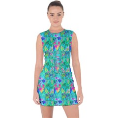 Garden Quilt Painting With Hydrangea And Blues Lace Up Front Bodycon Dress by myrubiogarden