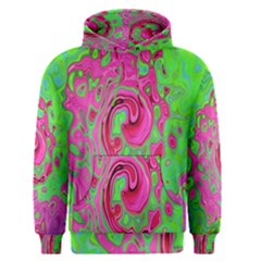 Groovy Abstract Green And Red Lava Liquid Swirl Men s Pullover Hoodie by myrubiogarden