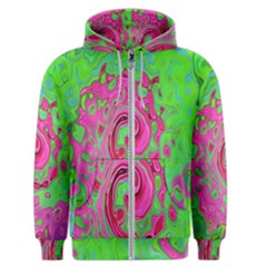 Groovy Abstract Green And Red Lava Liquid Swirl Men s Zipper Hoodie by myrubiogarden