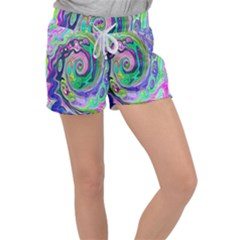 Groovy Abstract Aqua And Navy Lava Liquid Swirl Women s Velour Lounge Shorts by myrubiogarden