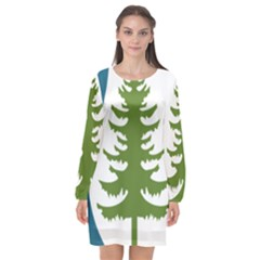 Forest Christmas Tree Spruce Long Sleeve Chiffon Shift Dress