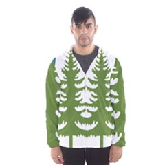 Forest Christmas Tree Spruce Hooded Windbreaker (men) by Desi8484