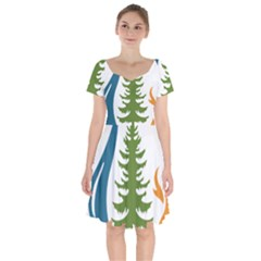 Forest Christmas Tree Spruce Short Sleeve Bardot Dress by Desi8484