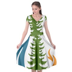 Forest Christmas Tree Spruce Cap Sleeve Wrap Front Dress by Desi8477