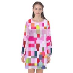 The Framework Paintings Square Long Sleeve Chiffon Shift Dress